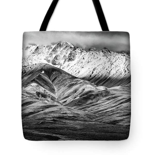 Polychrome Mountain, Denali National Park, Alaska, Bw Tote Bag