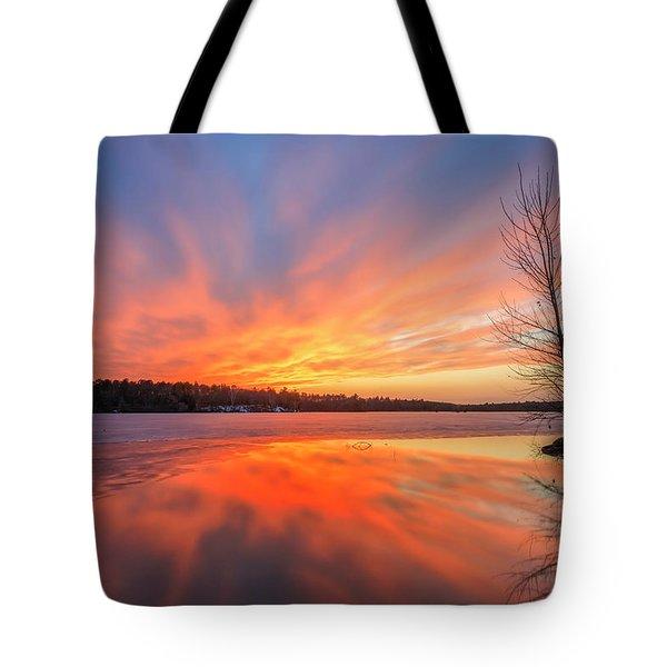 Pond Ablaze Tote Bag