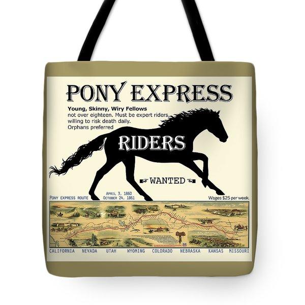 Pony Express Want Ad Tote Bag