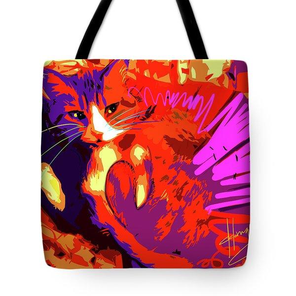 Pop Cat Tiger Tote Bag
