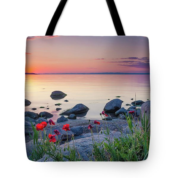 Poppies By The Sea Tote Bag