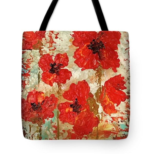 Tote Bag featuring the painting Poppies by Elizabeth Mundaden