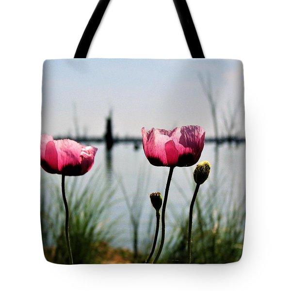 Poppies On Lake Mulwala 2 Tote Bag