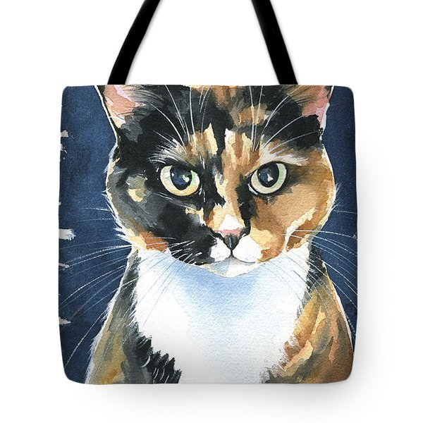 Poppy Calico Cat Painting Tote Bag