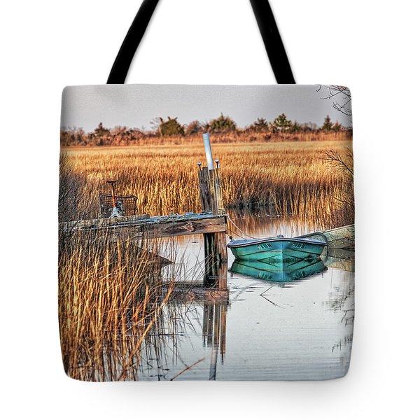 Poquoson Marsh Boat Tote Bag