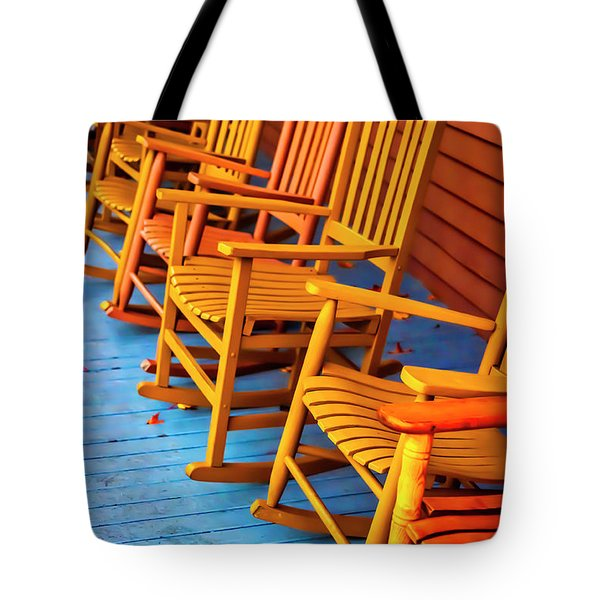 Porch Rocking Chairs Tote Bag