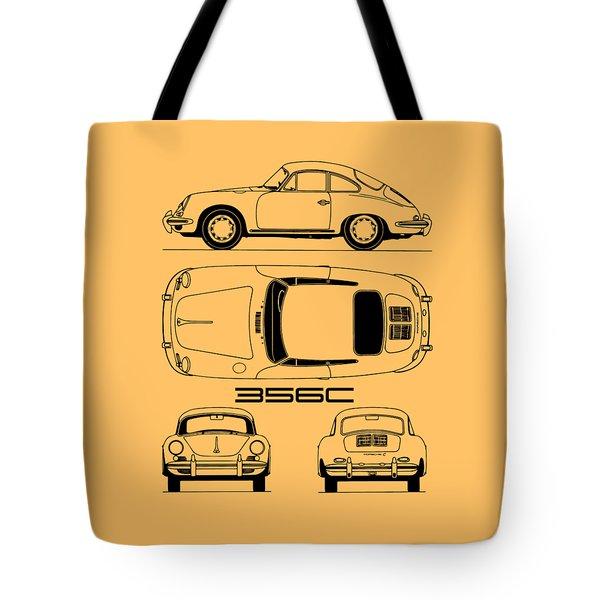 Porsche 356 C Blueprint Tote Bag