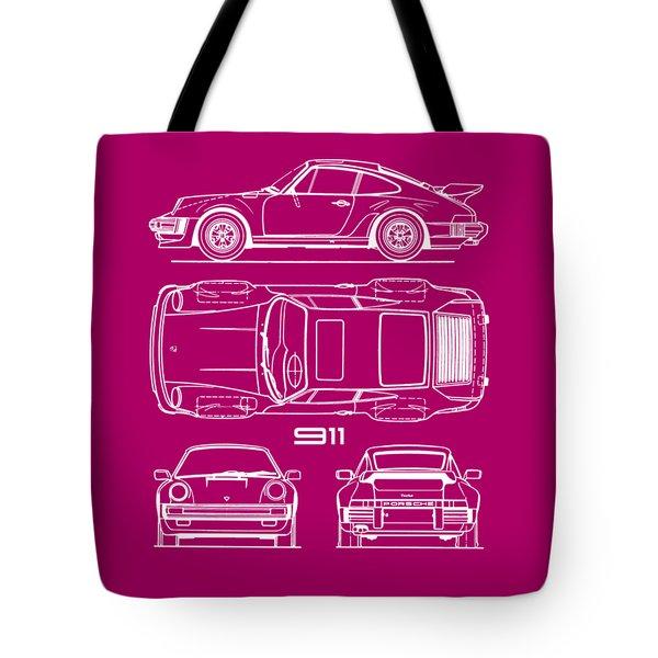 Porsche 911 Turbo Blueprint - Gray Tote Bag