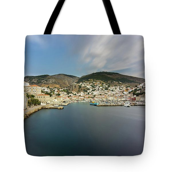 Tote Bag featuring the photograph Port At Hydra Island by Milan Ljubisavljevic