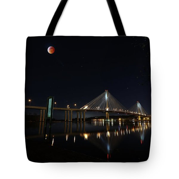 Port Mann Bridge With Blood Moon Tote Bag