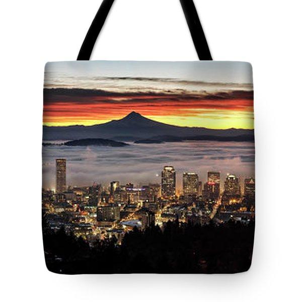 Portland Foggy Sunrise Tote Bag