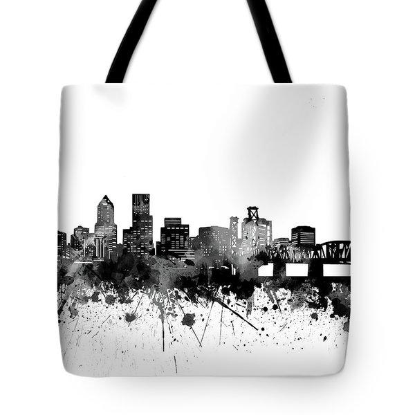 Portland Skyline Bw Tote Bag