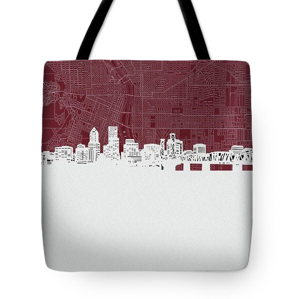 Portland Skyline Map Red Tote Bag