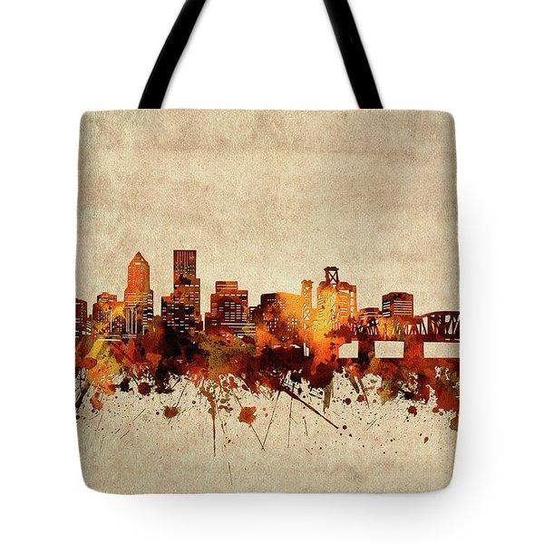 Portland Skyline Sepia Tote Bag
