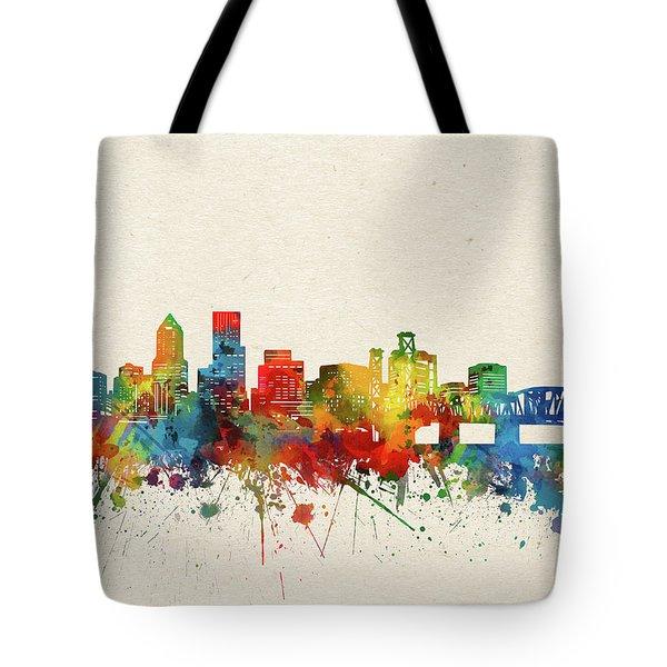 Portland Skyline Watercolor Tote Bag