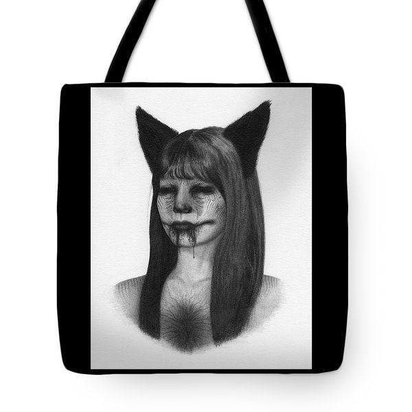 Tote Bag featuring the drawing Portrait Of A Kumiho - Artwork by Ryan Nieves