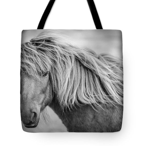 Portrait Of Icelandic Horse In Black And White Tote Bag