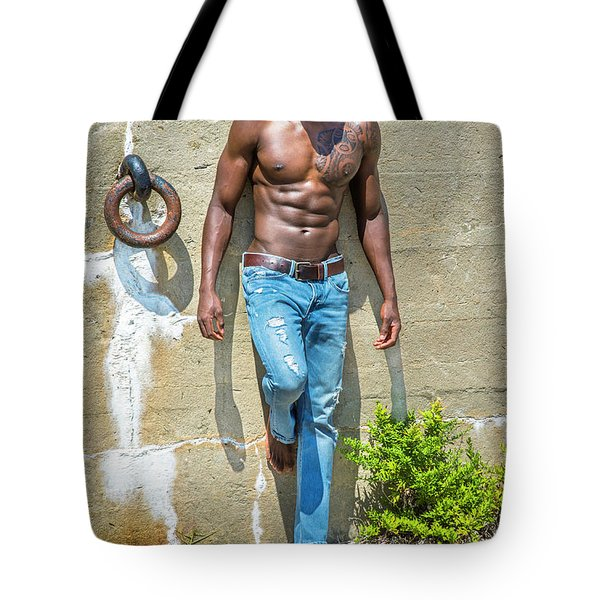 Portrait Of  Young Black Fitness Guy Tote Bag