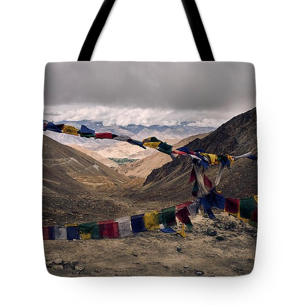 Tote Bag featuring the photograph Prayer Flags In The Himalayas by Whitney Goodey