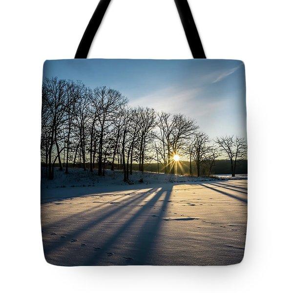 Pretty Winter Sun Rise Scene Tote Bag