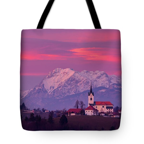Prezganje Church With Snowy Kamnik Alps At Sunset Tote Bag