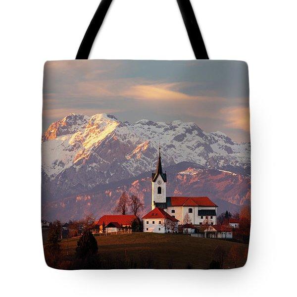 Prezganje Church With Snowy Kamnik Alps In The Background. Tote Bag
