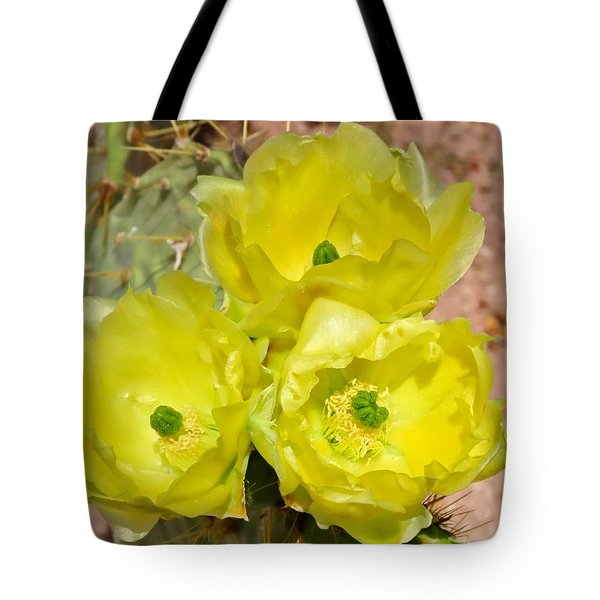 Prickly Pear Cactus Trio Bloom Tote Bag
