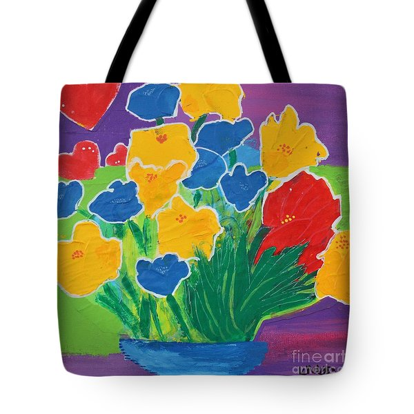 Tote Bag featuring the painting Primary Bouquet by Kim Nelson