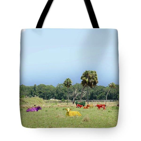 Psychedelic Cows Tote Bag