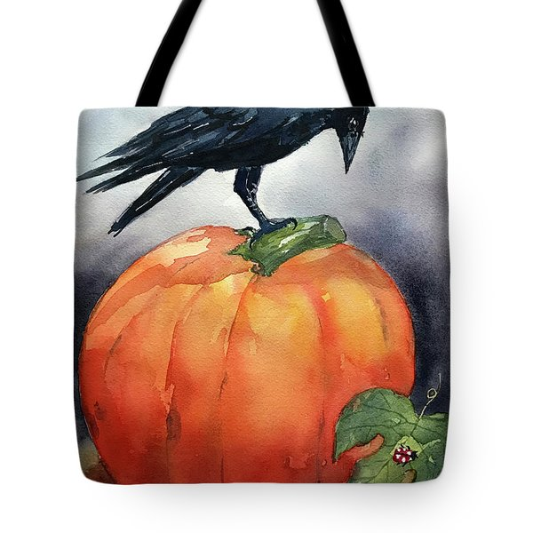 Pumpkin And Crow Tote Bag