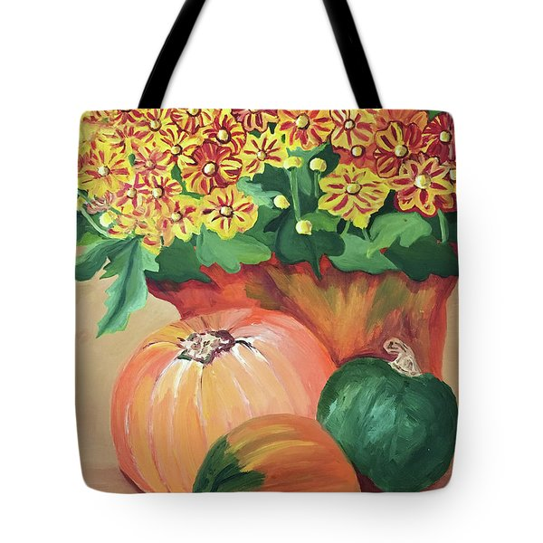 Pumpkin With Flowers Tote Bag