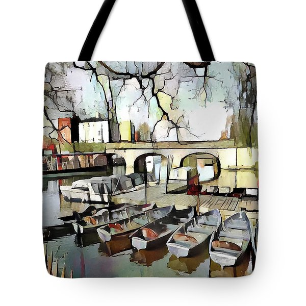 Tote Bag featuring the digital art Punting On The Thames - Watercolour by Pennie McCracken