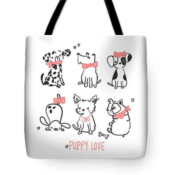 Puppy Love - Baby Room Nursery Art Poster Print Tote Bag