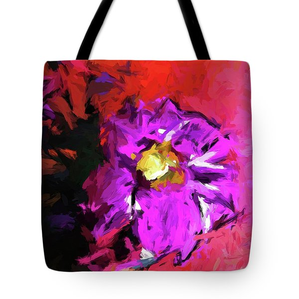 Purple And Yellow Flower And The Red Wall Tote Bag