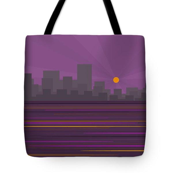 Purple City Skyline Tote Bag