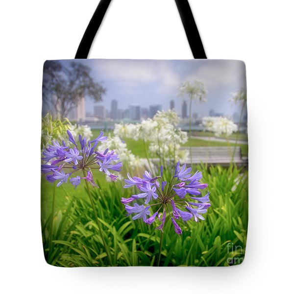 Purple Flowers In San Diego Tote Bag