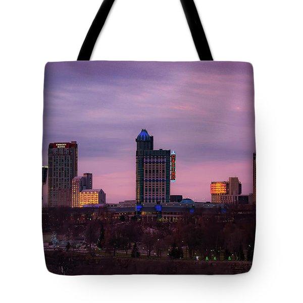 Purple Haze Skyline Tote Bag
