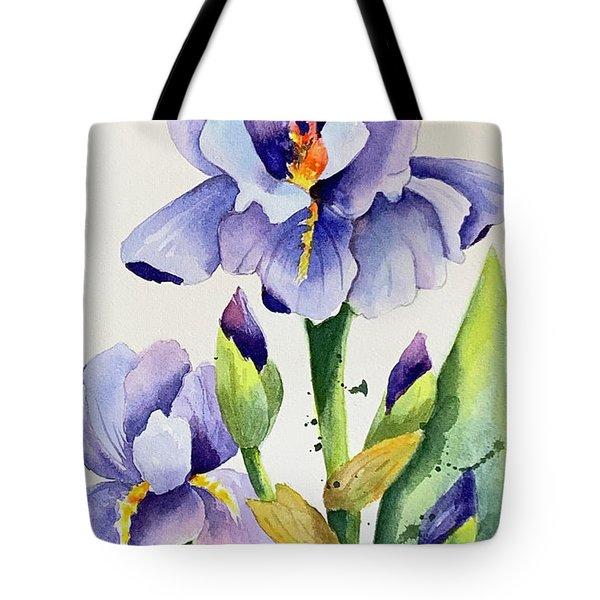 Purple Iris And Buds Tote Bag