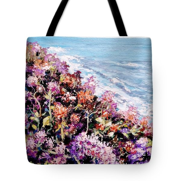 Tote Bag featuring the painting Purple Landscape by Ray Khalife