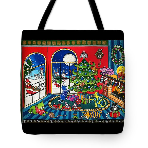 Purrfect Christmas Cat Painting Tote Bag
