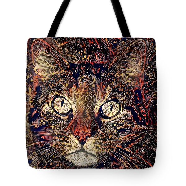 Tote Bag featuring the digital art Mystic In Paisley by Peggy Collins