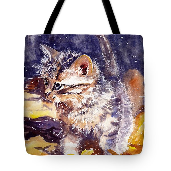 Pussy On A Yellow Blanket Tote Bag