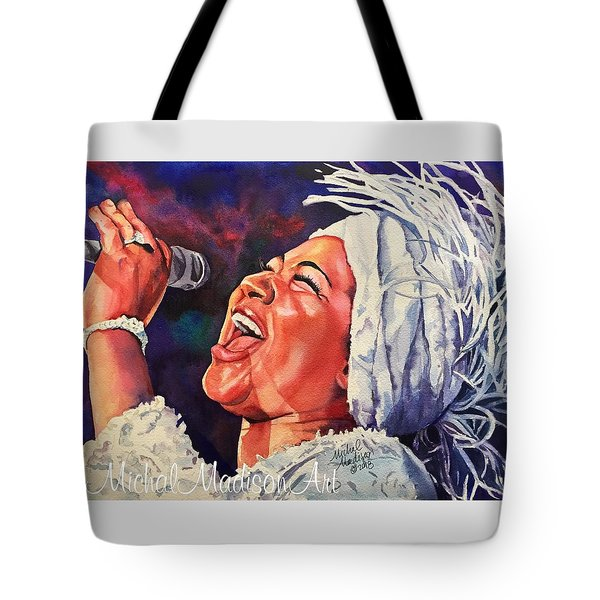 Tote Bag featuring the painting Queen Of Soul by Michal Madison