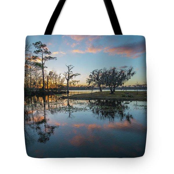 Quiet River Sunset Tote Bag