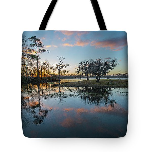 Quiet River Sunset Tote Bag