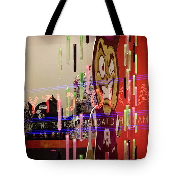 Tote Bag featuring the photograph Radio City Reflection by Steve Stanger