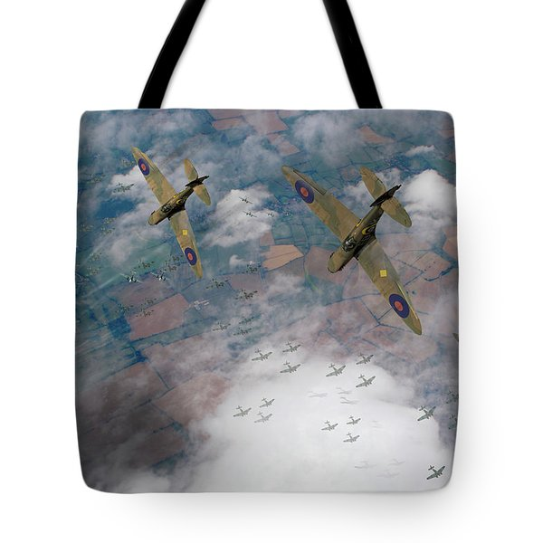 Raf Spitfires Swoop On Heinkels In Battle Of Britain Tote Bag