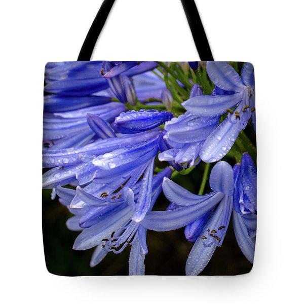 Rain Drops On Blue Flower II Tote Bag