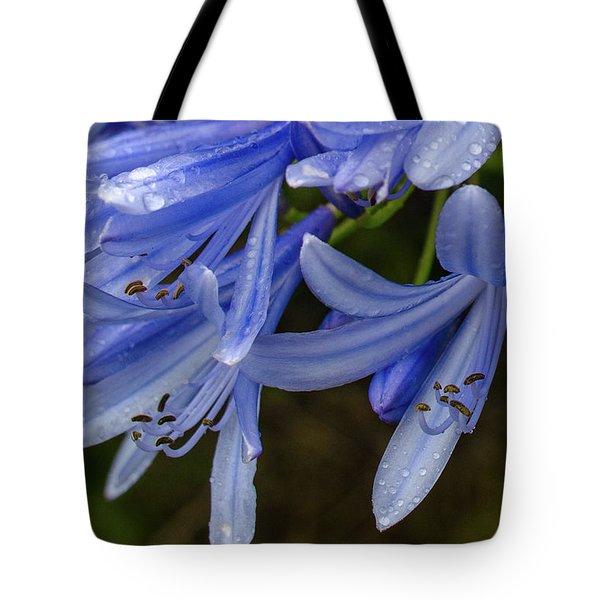 Rain Drops On Blue Flower Tote Bag