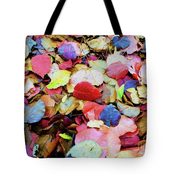 Tote Bag featuring the photograph Rainbow Autumn Leaves Painterly by Andee Design